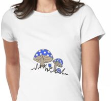 Blue Cap Mushrooms Womens Fitted T-Shirt