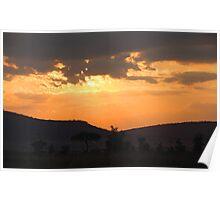 Dry Season Sunset, Serengeti National Park, Tanzania Poster