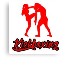 Kickboxing Female Knee Red Canvas Print