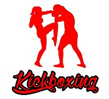 Kickboxing Female Knee Red Photographic Print