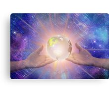 Hands with a Glowing Earth Canvas Print