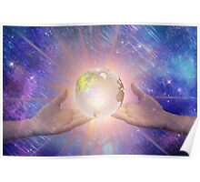Hands with a Glowing Earth Poster