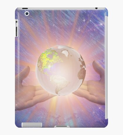 Hands with a Glowing Earth iPad Case/Skin