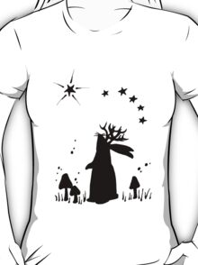 Jackalope Night - B&W T-Shirt