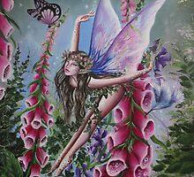 Foxglove fairy faerie fantasy elf pixie butterfly by Gabriella  Szabo