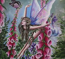 Foxglove fairy faerie fantasy elf pixie butterfly by gabo2828