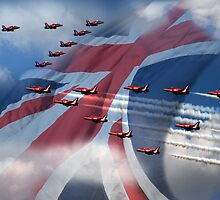 Red Over union jack by Dave Hayward
