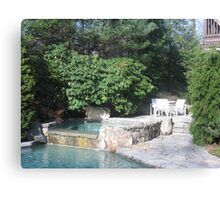 Jacuzzi with Rhododendrum and Private Seating Area Canvas Print