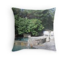 Jacuzzi with Rhododendrum and Private Seating Area Throw Pillow