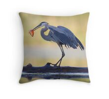 Great Blue Heron & Fish Throw Pillow