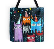Raining Night Cats Party Tote Bag