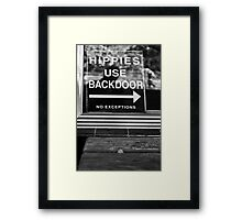 Hippies Use Back Door Framed Print