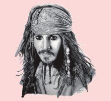 Captain Jack Sparrow (b/w) One Piece - Long Sleeve