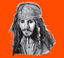 Captain Jack Sparrow (b/w) Kids Tee