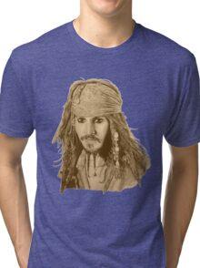 Captain Jack Sparrow (sepia) Tri-blend T-Shirt