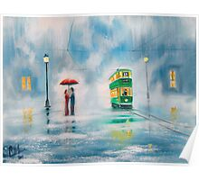 Rainy day couple with a red umbrella painting  Poster