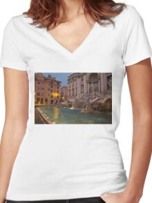 Rome's Fabulous Fountains - Trevi Fountain at Dawn Women's Fitted V-Neck T-Shirt