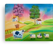 COW SHEEP naive folk art landscape painting Gordon Bruce Canvas Print