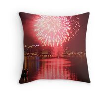 Fourth of July Fireworks Reflection - Pittsburgh, PA Throw Pillow