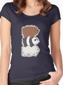 We Bare Bears Bearstack Women's Fitted Scoop T-Shirt