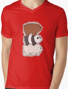 We Bare Bears Bearstack Mens V-Neck T-Shirt