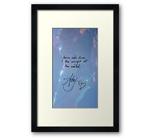 "All Time Low ""You're safe from the weight of the world"" - Alex Gaskarth Signature Framed Print"