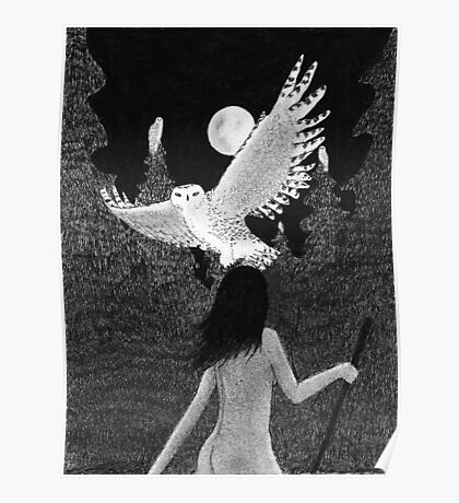 Wisdom - Sophia with Owls on Moonlit Night Poster