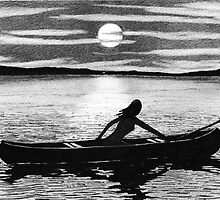 Canoe - Sophia with Canoe on Lake by David Hayward