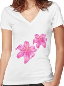pink lily flower Women's Fitted V-Neck T-Shirt