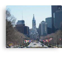 Philadelphia City Hall, Ben Franklin Blvd, Seen from Museum Row Canvas Print