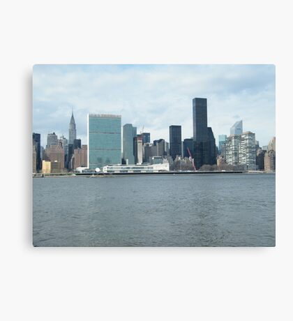 East River View of Manhattan, As Seen from Long Island City Canvas Print
