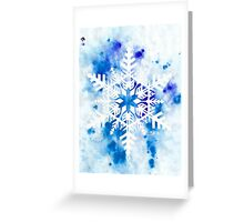 Papercut Snowflake with Blue Watercolor Greeting Card