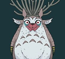 Deer God Totoro by crabro