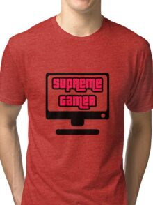 Supreme Gamer (Red-Pink) Tri-blend T-Shirt