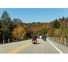 Joyful Autumn Ride - Bikers Know the Best Roads Photographic Print