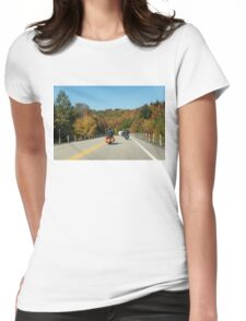 Joyful Autumn Ride - Bikers Know the Best Roads Womens Fitted T-Shirt