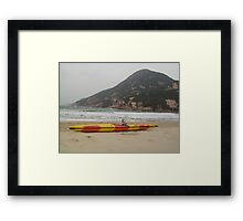 Moo Moo is asking for a push out into the surf to go kakhing Framed Print