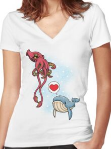 SUSHI... LOVE. Women's Fitted V-Neck T-Shirt