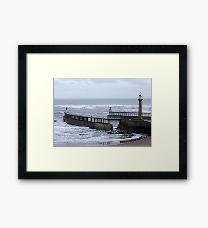 Entrance to Whitby Harbour Framed Print