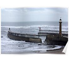 Entrance to Whitby Harbour Poster