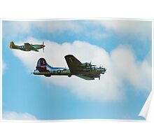 War Birds - B17 and P51 Mustang Poster