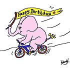 Ellie Elephant on Bike - Happy Birthday by Mike HobsoN