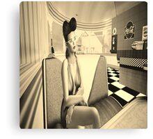Retro diner girl Canvas Print
