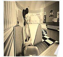 Retro diner girl Poster