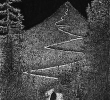 Summit - Sophia Ascends the Moonlit Mountain by David Hayward