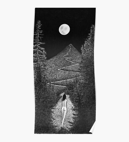 Summit - Sophia Ascends the Moonlit Mountain Poster