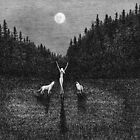 Wild - Sophia with Wolves under the Full Moon by David Hayward