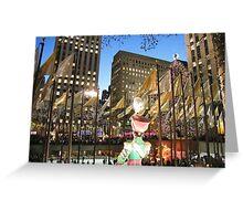 Rockefeller Center Skating Rink at Night, New York  Greeting Card