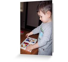 Grandson 'reading' Greeting Card