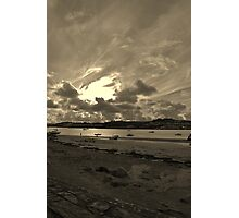 A cloudy Instow Beach (sepia) Photographic Print